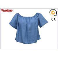 China Short Sleeve Cooling Summer Wear Blue Denim Shirt For Womens , Jean Cloth wholesale