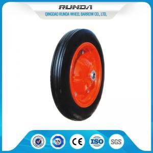 """China Heavy Duty Solid Rubber Trolley Wheels Metal Hub Wear Resistance 13""""X3"""" Size wholesale"""