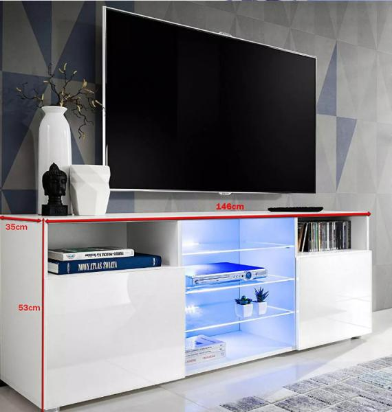 Quality TV stand Cabinet and open storage options Chipboard with melamine finish Oak and White for sale
