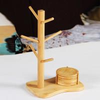 China coffee cup glass cup bamboo hanger rack with mats wholesale
