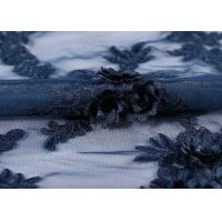 China Water - Soluble Mesh Lace Fabric 100% Polyester Embroidered With 3D Flowers wholesale