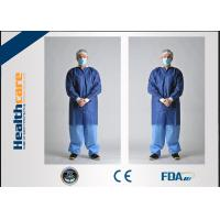 China SMS Disposable Lab Coats Dark Blue With Knitted Collar And Knitted Cuff Anti - Static wholesale