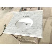 Buy cheap Big Vein White Carrera Marble Countertops Eased Edges With Double Sinks from wholesalers