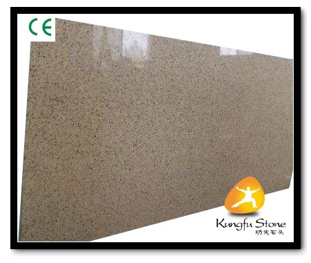 Quality Xiamen Kungfu Stone Ltd supply Yellow Quartz Stone Countertops Slab In High quality and cheap price for sale