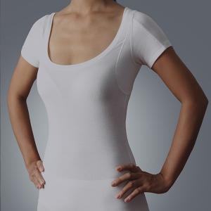 China Womens high quality luxury lenzing modal 40S 200g Scoop Neck armpit sweat pads Sweatproof Undershirt t-shirt on sale