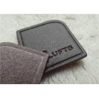 China Nigger - Brown Veined Embossed Leather Patches High Frequency Brand Logo Sewing On Garment wholesale
