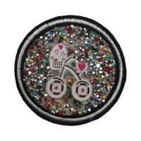 China Crystal Rhinestones Custom Cloth Patches , Colored Bling Iron On Patches wholesale