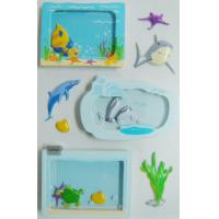 China Window Removable Vintage Toy Stickers Die Cut Sea World Fishes Designs wholesale