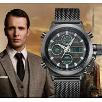 China Wholesale OEM Men Stainless Steel Mesh Band Waterproof 30m analog and digital watch dual time zone watches wholesale