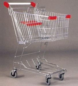 China Mini Steel Mesh Supermarket Shopping Cart Zinc Plated 60 Litres wholesale