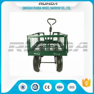 China Steel Mesh 4 Wheel Garden Cart Load Capacity 150-300kg Powder Coated Finish wholesale