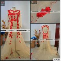 China Surmount Real Sample Red Lace With Champange Floor Length Plus Size Evening Dresses on sale