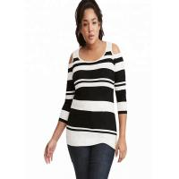China Drop Shoulder Oversized Knit Sweaters Stripe Knitted Polyester / Cotton Material wholesale