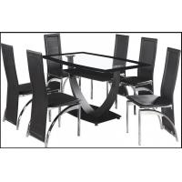 China hot sell tempered glass dining room furniture dining table and dining chair on sale