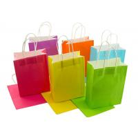 China Neon Colored Blank Paper Packaging Bags Rainbow Assortment with String Handles wholesale