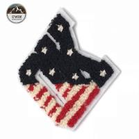 China Fashionable OK Letter Patches For Clothes , Striated American Flag Sew On Patches wholesale