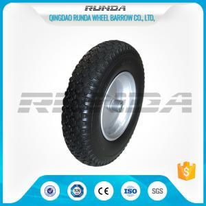 China Durable Heavy Duty Rubber Wheels 4.00-8 , Industrial Trolley Wheels Diamond Patter wholesale