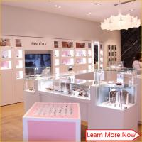 China Top quality wooden tempered glass white pink jewelry display glass table with full locks wholesale
