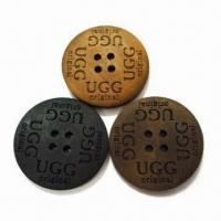 China 100% Natural Laser Wooden Buttons, Customized Designs are Accepted, Measures 2.5cm wholesale