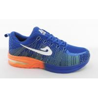 China Hot Air Flyknit Lightweight Tennis Shoes Blue / Orang Outsole wholesale