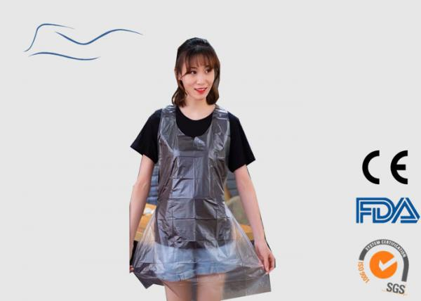 Quality CPE / PE Disposable Plastic Aprons Ties On Neck And Waist Type Transparent Color for sale