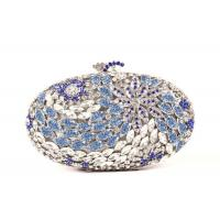China Handmade Full Crystal Stone Clutch Bag Silver Pu Leather Lining 16.5 * 4.8 * 11CM wholesale