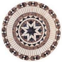 China Round Natural Stone Mosaic Tile, Marble Mosaic Floor Tiles With Mesh Back wholesale