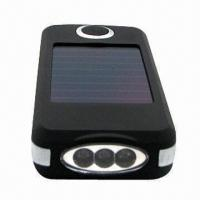 China 3-LED Solar Flashlight with Mobile Phone Recharge Function and 112mm Length wholesale