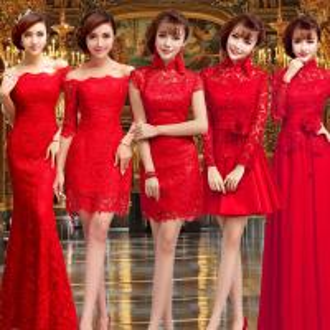 China Chinese Style Red Lace Bridal Dress Boat Neck Gorgeous Evening Dress TSJY094 wholesale