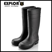 China Men's rain boots 8inch PVC safety rain boot work boots  for women Black on sale