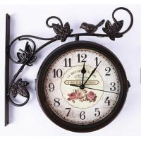 China Antique Metal Decorative Garden Wall Mounted Railway Train Station Two Double Face Bird Clock on sale