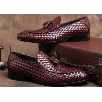 China Pointed Moc Toe Mens Woven Leather Loafers , Burgundy Mens Dress Shoes With Tassels wholesale