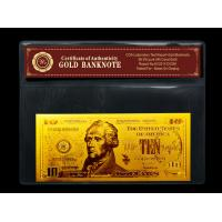 China gold plated notes $10 gold dollar bill plastic holder for present Gift wholesale