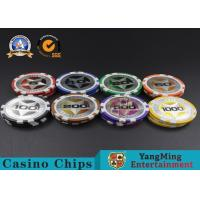China ABS Casino Poker Chips , Gambling Plastic Sticker Poker Chips Coins Yangming wholesale