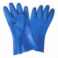 China PVC Coated Working Gloves with Sandy Finish and 100% Cotton Interlock Lining on sale