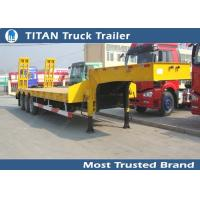 Tri axle 40 tons semi low loader trailer for transport excavator , lowboy ramps