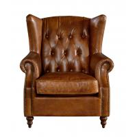 Georgian Style High Backed Winged Leather Chairs, Brown Leather ArmchairDeep Buttoned Back