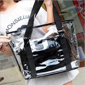 China Women Tote Handbag Semi clear-PVC Beach Bag Shoulder Bag Stripe Fasion bag Design From China Factory Supplier,good price wholesale
