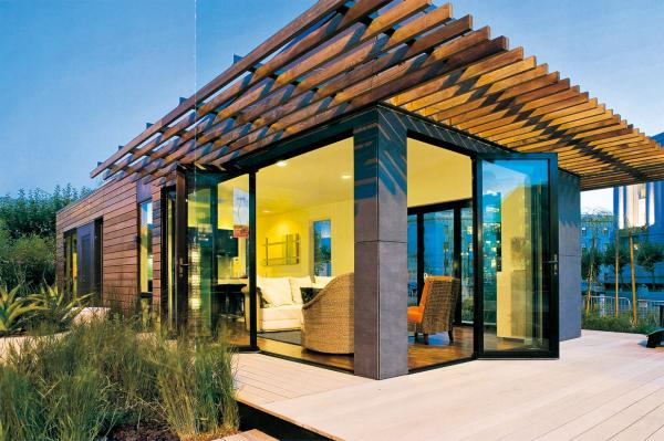 Steel frame wood outlook non shrinking prefab container villa wood