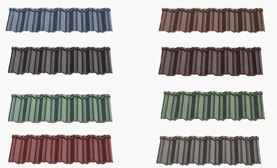 Metal roofing shingles tiles classical green brown color stone