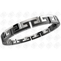 China Black White Surgical Hinged Stainless Steel Bracelets For Men / Women wholesale