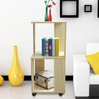Movable Home Office Wooden Book Rack Maple With Two Layer Storage Space