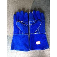 "China Blue Cow Split Leather 14"" Safety Working Gloves Reinforced Palm Kevlar Stiched Full Lining wholesale"