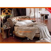 China Luxury golden leather French round bed furniture bedroom sets wholesale