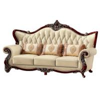 China B01 wooden carved Royal style genuine leather sofa set for home furniture wholesale