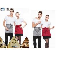 China Woven Cotton Cute Cooking Aprons , Short Red Apron For Men And Women wholesale