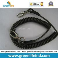 China Anti-Drop Black Spring Coil Tool Lanyard W/Oval Hooks wholesale