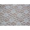 China Fashion Brushed White Lace Fabric Flower Shape , Stretchable 135cm Width CY-LQ0042 wholesale