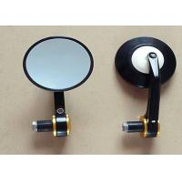 China 8cm x 8cm Motorcycle Rear View Mirrors , Harley Davidson Round Black Mirrors on sale