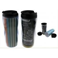 350Ml Paper Insert Double Wall Plastic Mug For Travel , Screwed Lid